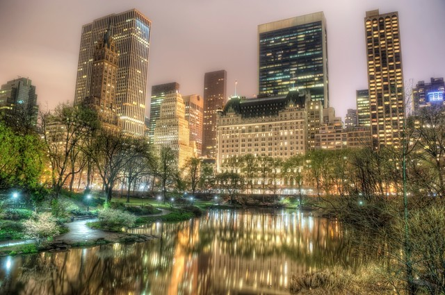 The Pond in Central Park at night HDR