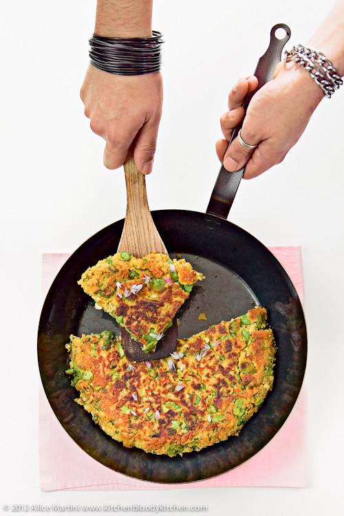 Farinata con tofu, fave ed erba madre