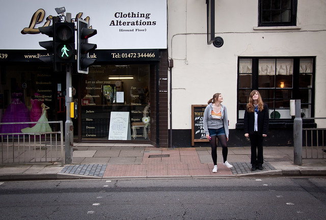 Two Girls at a Grimsby Town Crosswalk - Lincolnshire UK