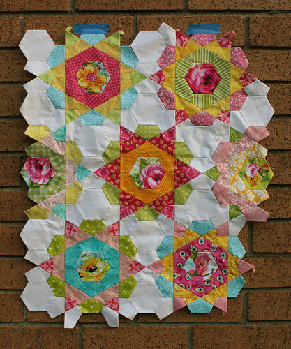 rose star quilt wip3