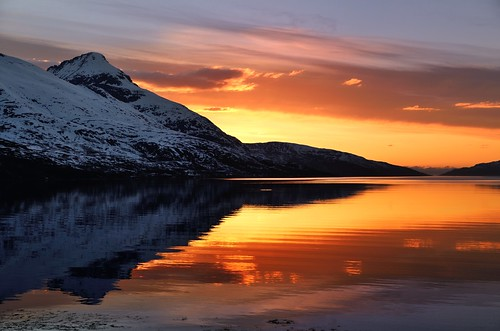 sunset sky sun seascape reflection water landscape nordnorge troms nikkor1685dx nikond7000