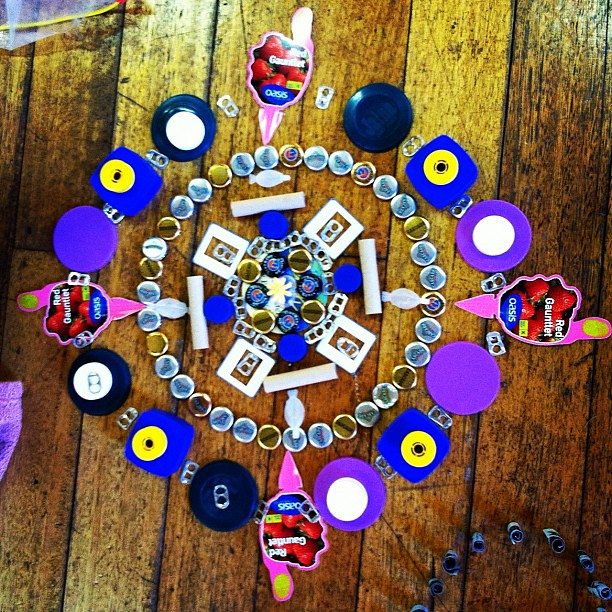 Junk mandala made by Big Owlet  #mandala #play #unschooling