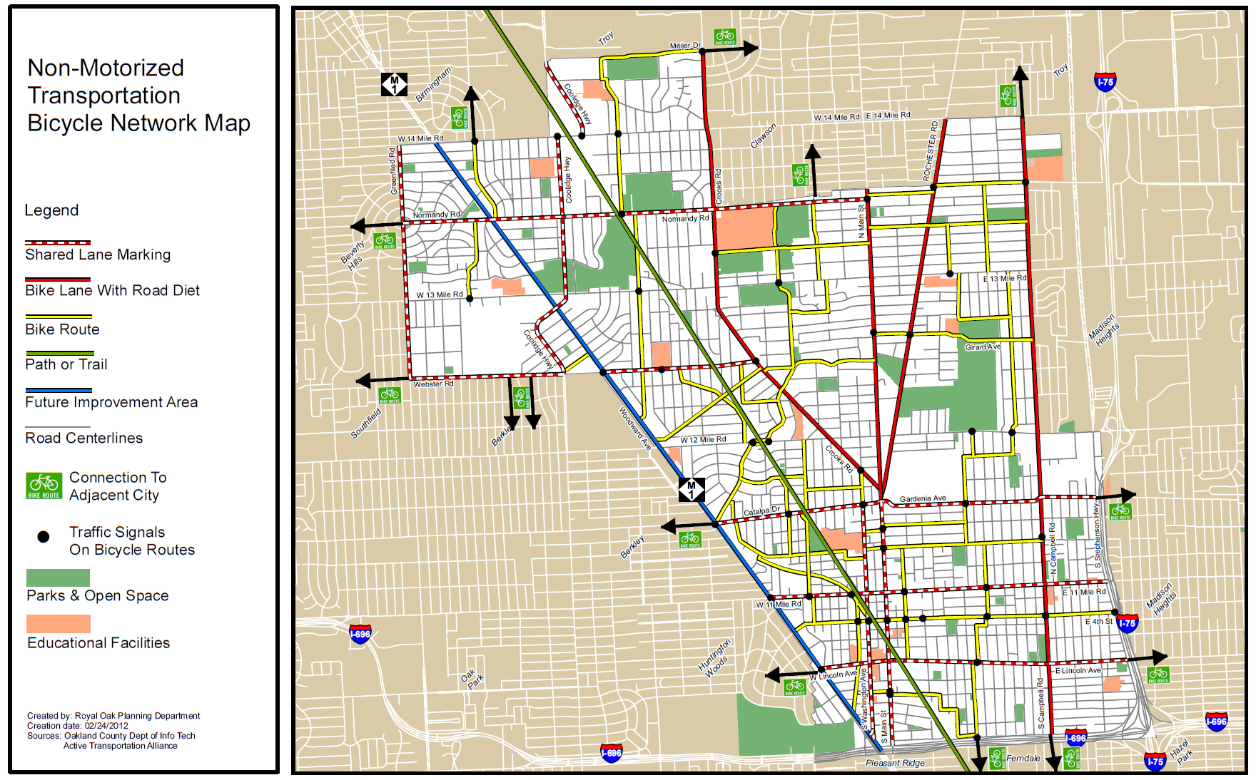 Royal Oak Rolls Out Bicycle Network Map Complete Streets Amendment