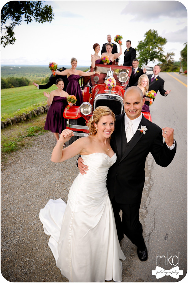 Bridal Party on a vintage red fire engine - Harvard, MA