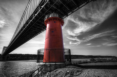 Little Red Lighthouse GW Bridge B&W Color