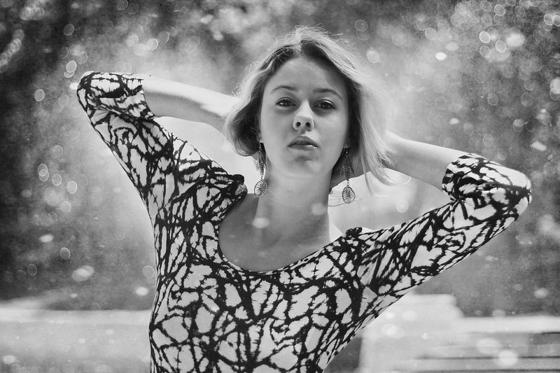 model fashion style portrait black and white B&W bokeh water drops no colour pose creativity