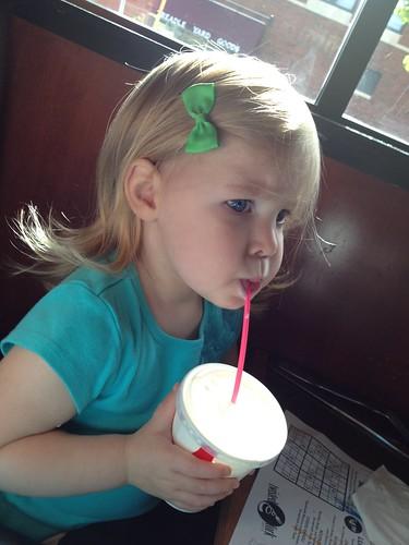 Annie drinking milk