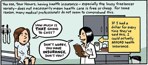 a panel from the comic. The Jen character sits on the table at a doctor's office. She says How much is THAT going to cost? and the doctor says Don't worry, you have INSURANCE don't you?