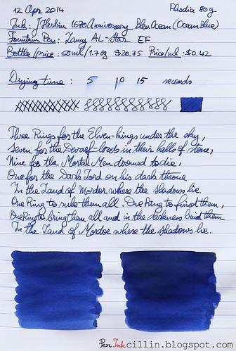 J Herbin 1670 Anniversary Bleu Ocean on Rhodia
