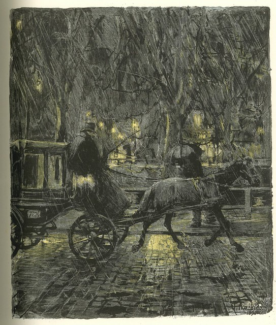 Franz Skarbina.  Droschke im Regen (Carriage in the Rain).  Four color Lithograph.  Berlin, 1896.  Pan.  Vol. II, no. 1.