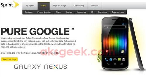 Sprint Galaxy Nexus pre-order