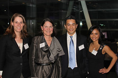 MPI's Susanna Groves and Kathleen Newland, with James Huy Bao and Uyen Nguyen, founders of OneVietnam Network and winners of MPI's Young Innovators Award.