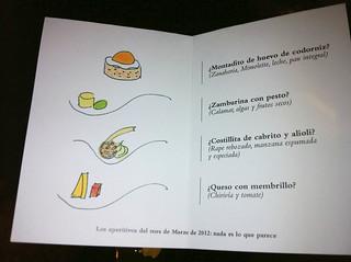 Carta de aperitivos
