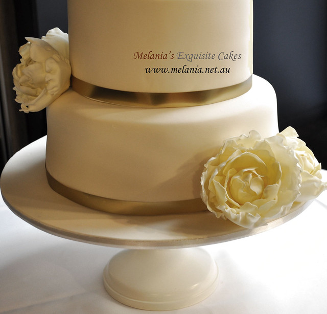 wedding cake with gold ribbon wedding cake with peonies and gold ribbon explore 26902