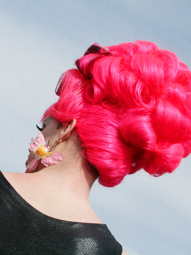 Pink Wig and Hummingbird Earrings