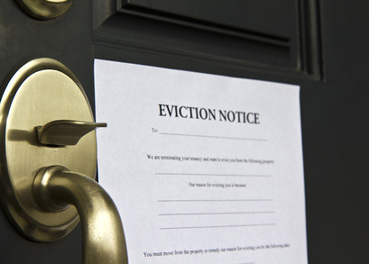 Eviction Notice Lettr on Front  Door
