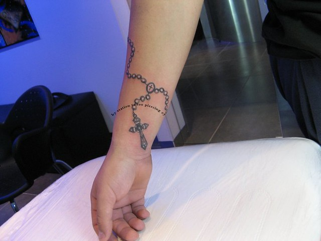 Tattoo black and grey cross chain arm flickr photo for Chain tattoo on arm
