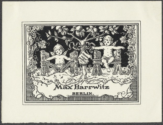 bookplate with stylised 'twee' putti in decorative fantasy setting reading books