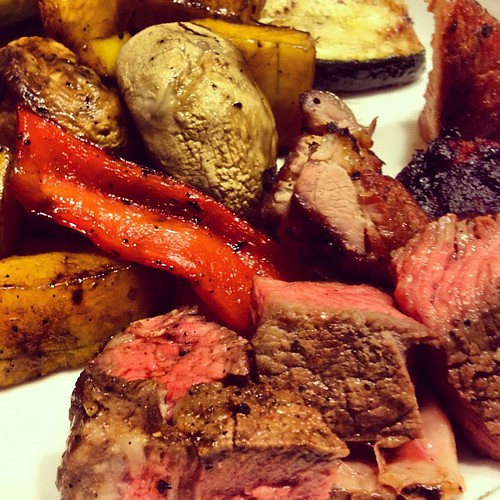 Grill night! Veggies, steak, and pork. #paleo goodness.