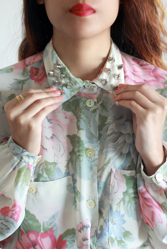 Tarte Vintage Semi-sheer floral button-up blouse with spike studs on collar at shptarte.com