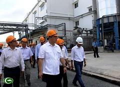 Phó Thủ tướng Hoàng Trung Hải làm việc tại Nhà máy bột giấy Phương Nam, Long An