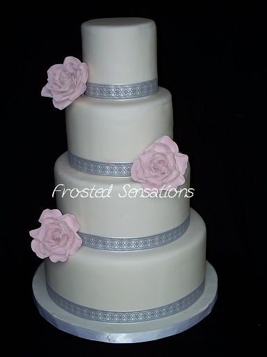Gray With Pink Flowers Wedding Cake