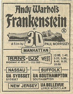 August 1974 Andy Warhol's Frankenstein in 3-D - NYC Theaters Ad