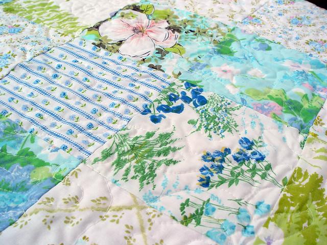 vintage sheet quilt, detail