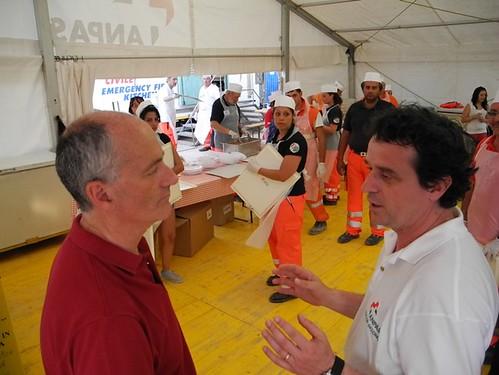 Fausto Casini e Franco Gabrielli al campo di Mirandola