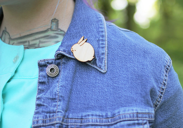 Photo of Kayla wearing my Sleeping Bunny Wood Pin by Kaylah of the Dainty Squid blog 3