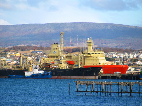 Barcos en el Estrecho de Magallanes