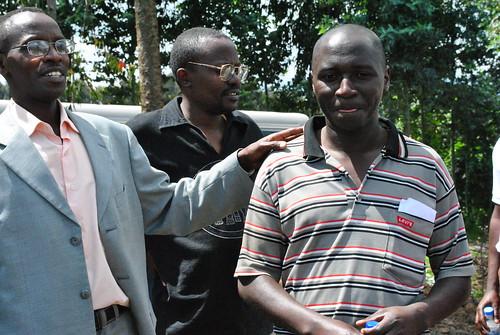 Senkesha Ntizo introduces Emmanuel Musabyimana, a farmer working with RAB to grow potato seedlings for distribution to local farmers