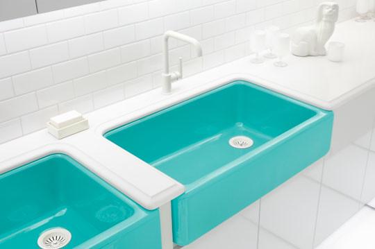 Design Curves: Jonathan Adler's Kohler sinks on 60 kitchen stove, 60 kitchen countertop, 60 kitchen hood, 60 kitchen cabinet, 60 kitchen bench,