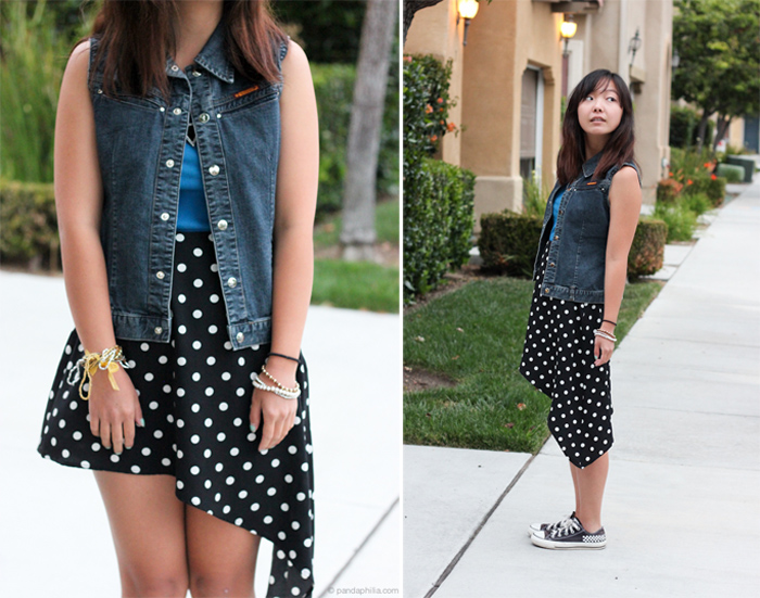 denim vest polka dot skirt
