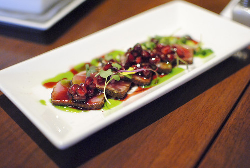 Ahi Tuna, Pomegranate, Basil Oil