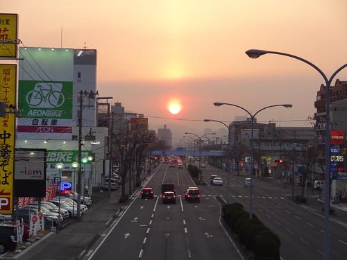 sunset nature japan 夕陽 sendai 自然 miyagi sunpillar 夕焼け 宮城 日没 仙台市 太陽柱 仙台市若林区