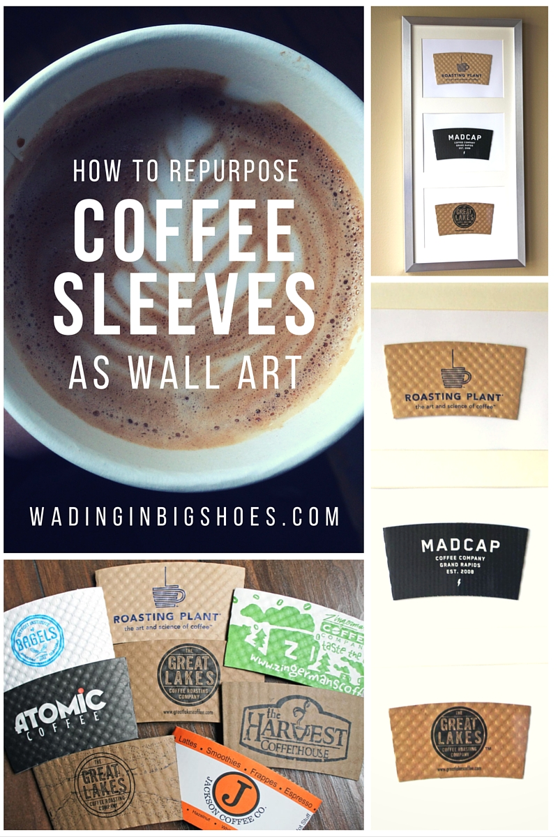 How To Repurpose Coffee Sleeves As Wall Art - Finally, a way to reuse and display those cool coffee sleeves from your favorite coffee houses! Click through to learn more. [via Wading in Big Shoes]