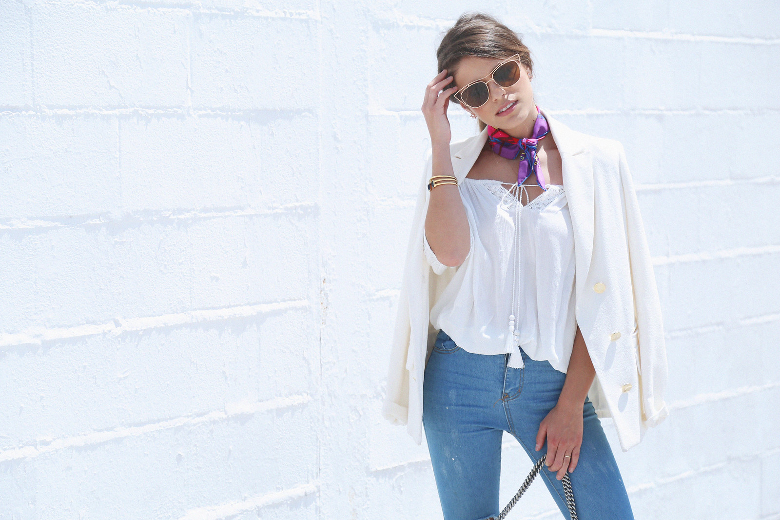 jessie chanes seams for a desire white off shoulder top high waisted jeans gucci bag uterque-7
