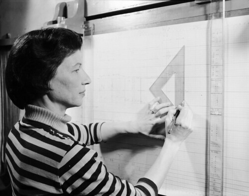 [Woman using triangular ruler, United Rubber & Chemical Company]