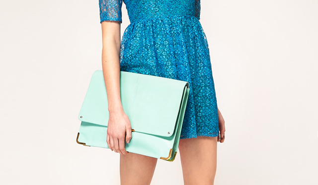 mint green portfolio clutch bag