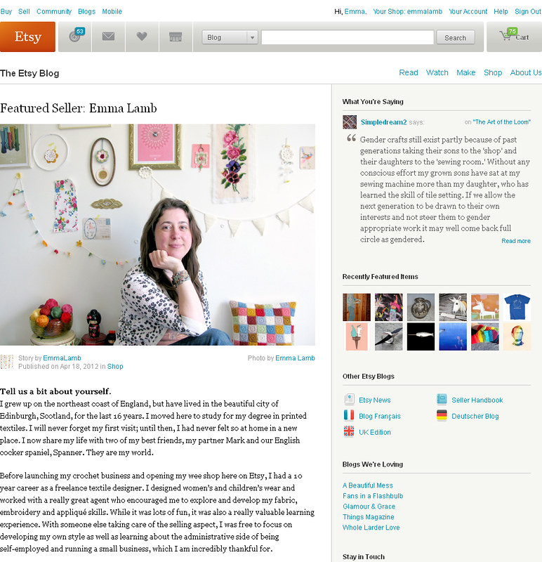 My Featured Seller interview on Etsy today... yay! | Emma Lamb