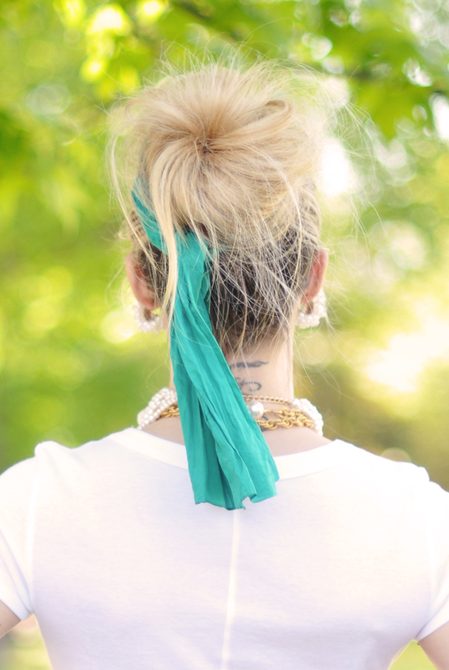 hair- bit messy bun with silk scarf