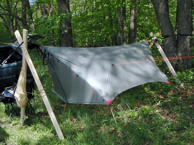 i did this at a bluegrass festival     used one tree but can do it all with big stakes  hanging a hammock temporarily without trees   page 2  rh   hammockforums