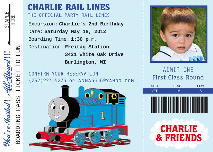 Thomas Train Custom Birthday Invitation