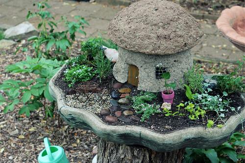 her fairy garden