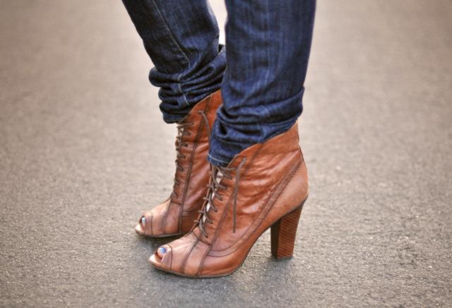 Brown Peep Toe Flat Shoes