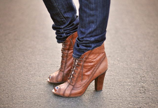lace up ankle boots-peep toe-with jeans