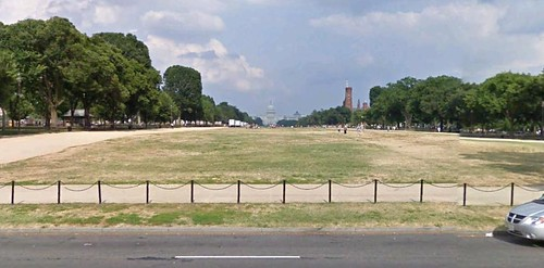 the National Mall, looking east (via Google Earth)