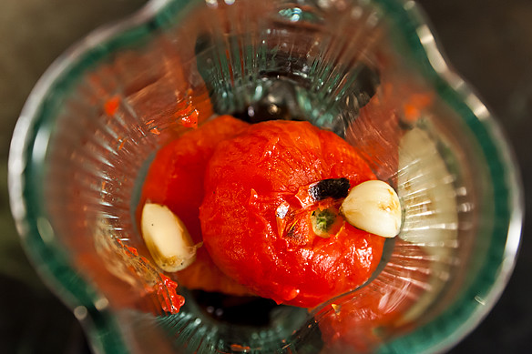 tomatoes in a blender