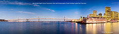 Bay Bridge Night Colors Panoramic View with Embarcadero Center Holiday Lights San Francisco